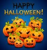 Приглашение партии хеллоуина с тыквами на голубой предпосылке вектор Стоковые Изображения
