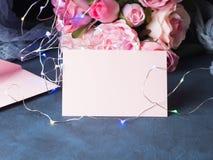 Приглашение поздравительной открытки дня ` s валентинки Стоковое фото RF
