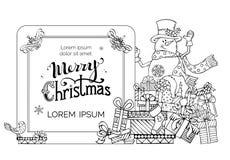 Приглашение рождества Doodles в ребяческом стиле Стоковая Фотография