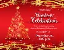 Приглашение рождественской вечеринки с деревом золота декоративным иллюстрация штока