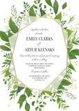 Приглашение свадьбы, флористический вектор приглашает спасение дата современный ca иллюстрация штока