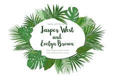 Приглашение свадьбы, флористическое приглашает дизайн карточки с зеленым tropica иллюстрация вектора