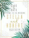 Приглашение свадьбы, флористическое приглашает спасибо, дизайн карточки rsvp современный: зеленая тропическая растительность лист иллюстрация вектора