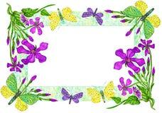 Приглашение с иллюстрацией акварели бабочек и цветков бесплатная иллюстрация