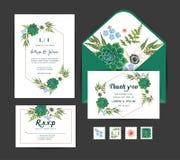 Приглашение с цветками ветреницы, кактус свадьбы Комплект шаблона вектора иллюстрация штока