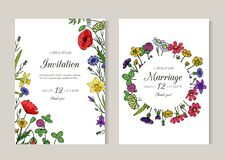 Приглашения свадьбы Поздравительная открытка с цветками луга лета дикими Шаблон летчика вектора эскиза весны флористический ретро иллюстрация вектора