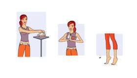 Пригодность дома Молодая женщина выполняет разнообразие тренировки в процессе домоустройства - чистки Иллюстрация растра бесплатная иллюстрация