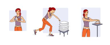 Пригодность дома Молодая женщина выполняет разнообразие тренировки в процессе домоустройства - чистки Иллюстрация растра иллюстрация штока