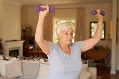 Пригонка и dumbells активной старшей женщины поднимаясь дома Стоковое Изображение