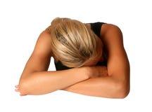 пригонка физически отдыхая женщина Стоковые Фото