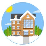 Пригородный дом Иллюстрация шаржа плоская бесплатная иллюстрация