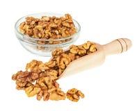 Пригорошня грецких орехов в ветроуловителе и стеклянном шаре изолированных на белизне Стоковые Фотографии RF