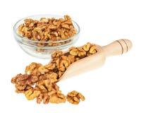 Пригорошня грецких орехов в ветроуловителе и стеклянном шаре изолированных на белизне Стоковая Фотография RF