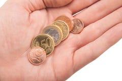 Пригорошня монеток евро в руке Стоковые Изображения RF