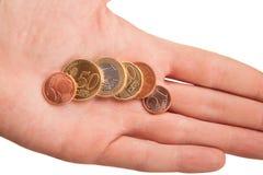 Пригорошня монеток евро в руке Стоковые Фотографии RF