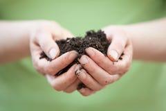 Пригорошня почвы или грязи Стоковое фото RF