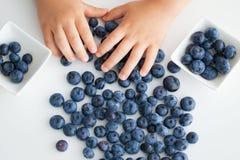 Пригорошня ягод в руках ` s детей стоковые изображения