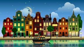 Пригород Амстердам Голландия городка города исторических зданий плоского шаржа пестротканый красочный иллюстрация штока