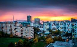 Пригород на заходе солнца Стоковая Фотография