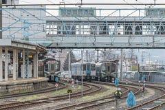 Пригородные поезда на станции Yamagata Стоковое Фото