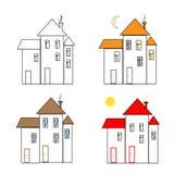 Пригородный значок домов измените картину золота цветов легкую к Стоковые Изображения RF