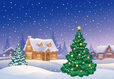 Пригород рождества бесплатная иллюстрация
