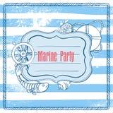 Приглашение вектора к партии моря иллюстрация вектора