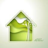 Приглашение зеленого дома весны Стоковые Фото