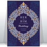 Приглашение или карточка свадьбы с абстрактной предпосылкой Стоковое Изображение RF