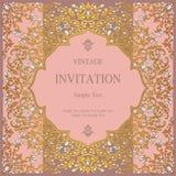 Приглашение или карточка свадьбы с абстрактной предпосылкой Стоковая Фотография