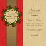 Приглашение, красный цвет и беж рождества Стоковые Фото