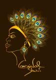 Приглашение масленицы с женщиной в павлине оперяется головной убор бесплатная иллюстрация