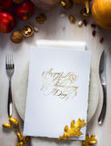 Приглашение обедающего официальный праздник в США в память первых колонистов Массачусетса искусства счастливое Стоковое фото RF