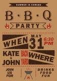 Приглашение партии барбекю вектора Дизайн меню шаблона BBQ Рогулька еды иллюстрация вектора