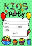 Приглашение партии детей иллюстрация вектора