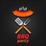 Приглашение партии BBQ Плакат иллюстрации вектора Стоковые Изображения