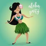 Приглашение партии Hawaiian Aloha с гаваиской девушкой танцев hula Стоковые Изображения