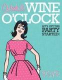 Приглашение партии O'Clock вина ретро Стоковые Изображения RF