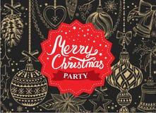 Приглашение рождественской вечеринки, ресторан меню еды бесплатная иллюстрация
