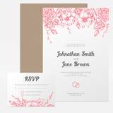Приглашение свадьбы вектора винтажное флористическое Стоковое Изображение
