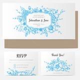 Приглашение свадьбы вектора винтажное флористическое Стоковая Фотография RF