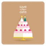Приглашение свадьбы в плоском дизайне с тортом Стоковое Изображение RF