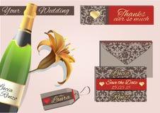 Приглашение свадьбы, в цветах голубя серых и красных с золотыми глазами Стоковые Изображения RF
