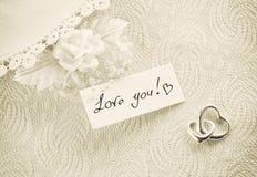 Приглашение свадьбы, концепция дня валентинки, sepia тонизировало карточку Стоковая Фотография RF