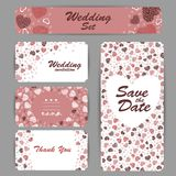 Приглашение свадьбы, спасибо карточка, сохраняет карточки даты Карточка RSVP Стоковая Фотография
