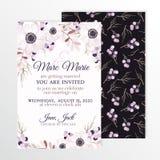 Приглашение свадьбы с ветреницей цветков Стоковые Изображения RF