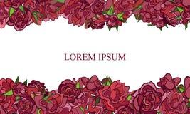 Приглашение свадьбы с розами на белой предпосылке Стоковая Фотография