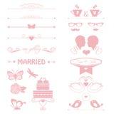 Приглашение свадьбы с тортом, цветками, парами иллюстрация вектора