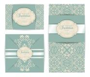 Приглашение стиля штофа вектора винтажное роскошное барочное, дизайн поздравительной открытки Стоковые Фотографии RF