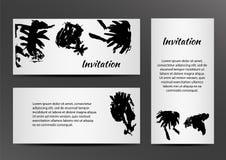 Приглашение с inkblots на белой предпосылке иллюстрация вектора